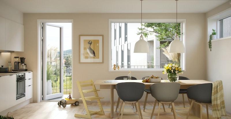 Romslig og lyst kjøkken med god plass til spisebord og utgang til trivelig frokostbalkong. Kun ment som illustrasjon