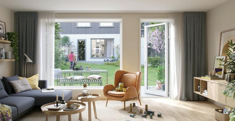 Stue med utgang til terrasse og grøntområde. Kun ment som illustrasjon