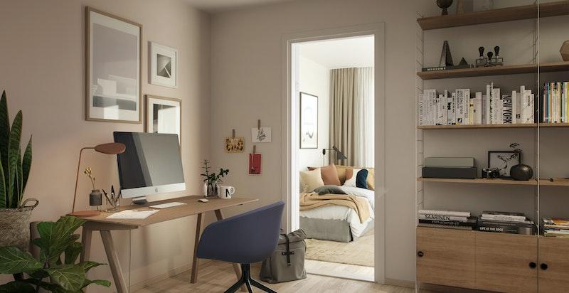 I underetasjen er det god plass til eget hjemmekontor. Kun ment som illustrasjon