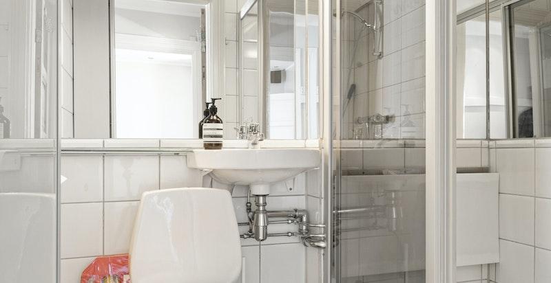 Baderom i hovedetasjen innredet med toalett, servant og dusj i hjørne.