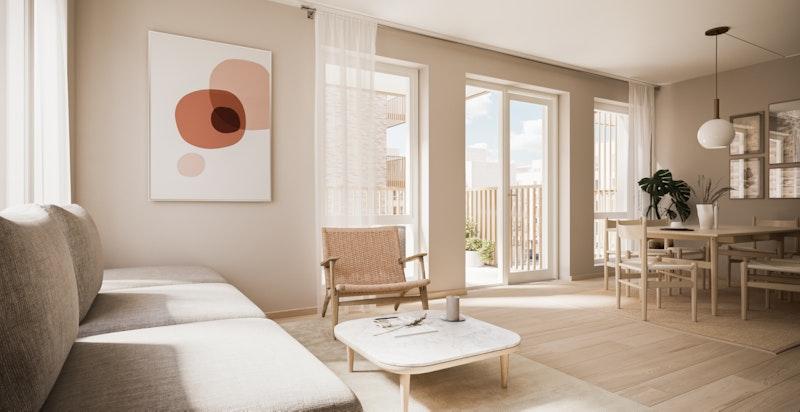 Leilighet A3-302 Stue i stilvalget Nordisk Natur