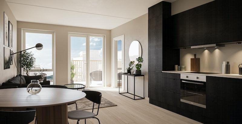 Leilighet A1-502 Stue/kjøkken i stilvalg Nordisk Mørk