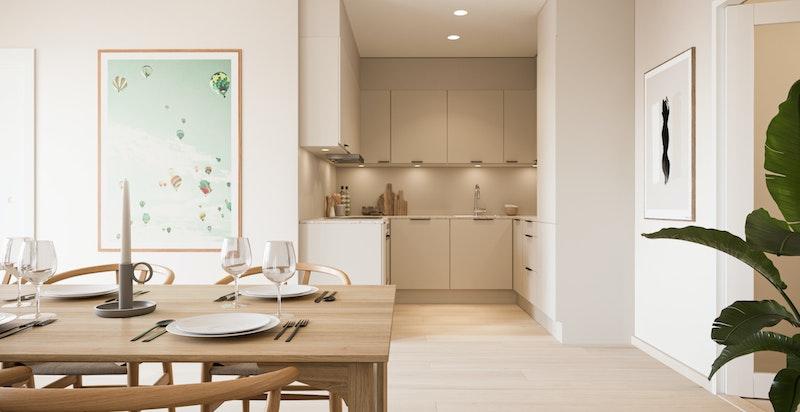 Leilighet A2-501 stue og kjøkken i Nordisk Natur
