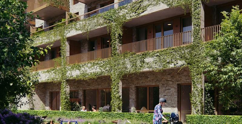 Bygg A vil få utbygde balkonger i de 3 nederste etasjene. På bakkeplan blir det private markterrasser