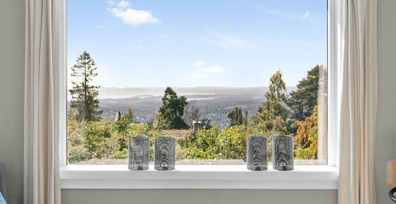 Nydelig utsikt fra stuen mot Oslofjorden og Bærumsmarka