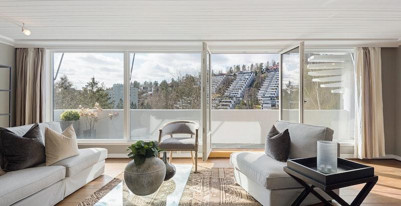 Stue i underetasje med utgang til terrasse