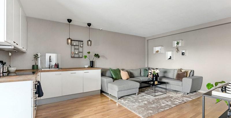 Romslig stue med god plass til stor sofagruppe med naturlig avstand til TV-seksjon