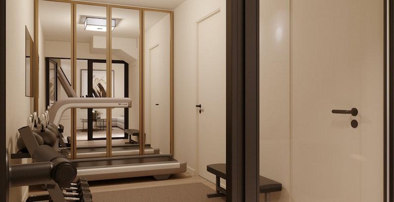 Trimrom leveres med solid veggfeste og heldekkende speil på endevegg, samt eksklusiv taklampe fra Astro.