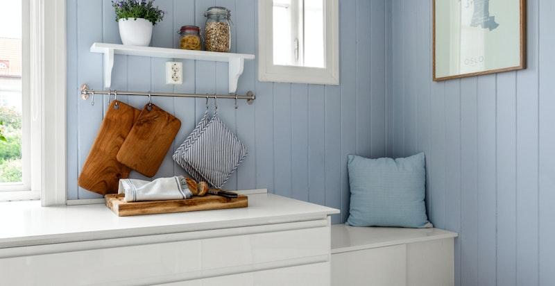 Detaljer kjøkken - hyggelig sitteplass.