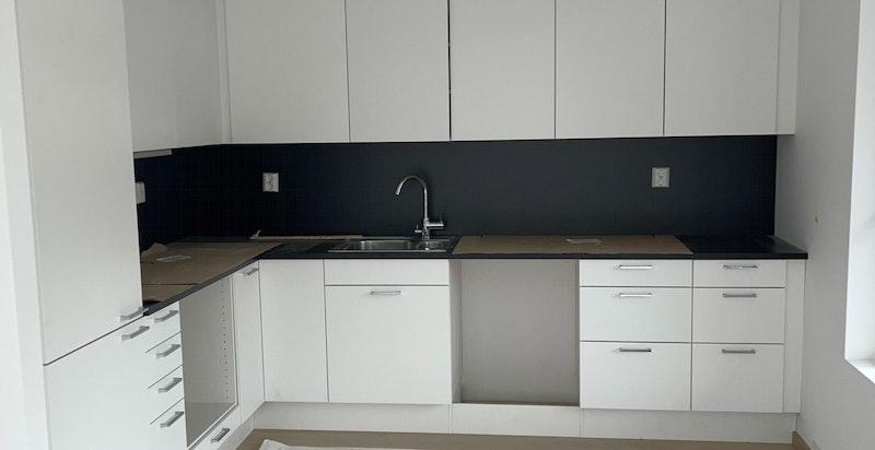 Kjøkken - bilde tatt på byggeplassbefaring