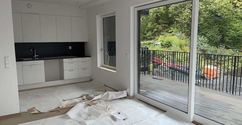 Kjøkken- bilde tatt på byggeplassbefaring