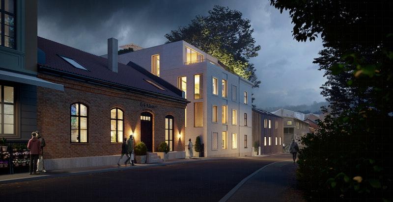 Fasade - Akersveien 18-20. Dette prosjektet forventes ferdigstilt før jul 2021