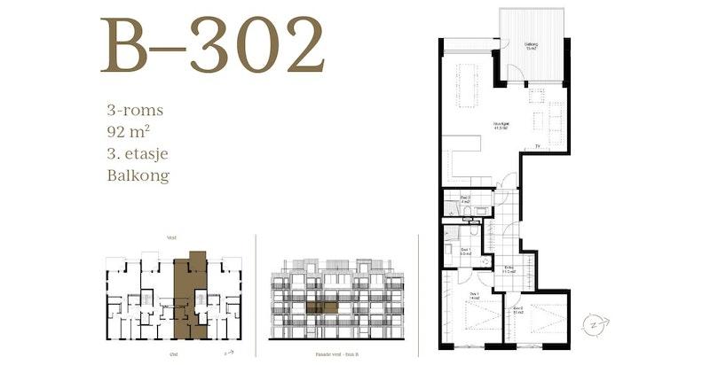 Plantegning leilighet B302