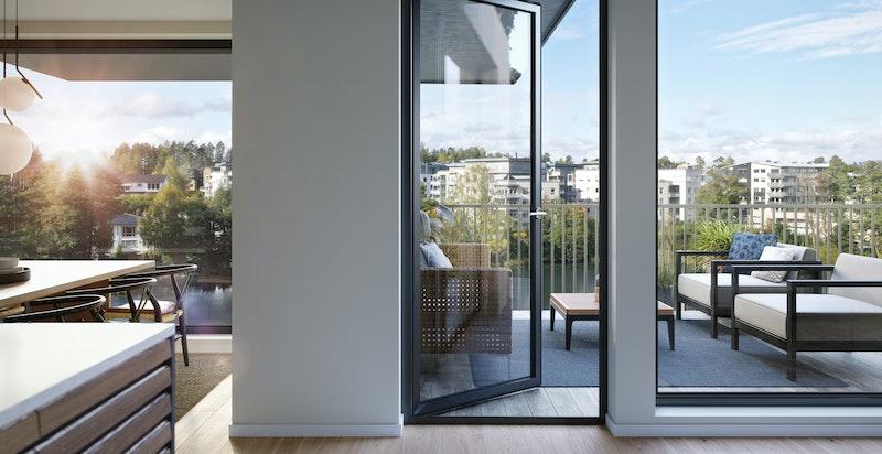 Fra oppholdssonen er det utgang til vestvendt balkong på 15 kvm. Animert fra en annen bolig i prosjektet og avvik vil forekomme. Kun ment som illustrasjon.