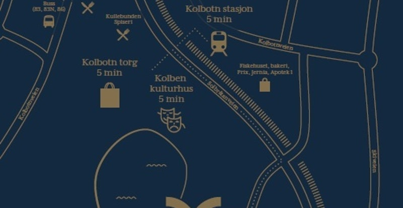 Fra Veslebukta er det kun 4-6 minutters gange til Kolbotn torg, Kolben og togstasjonen.