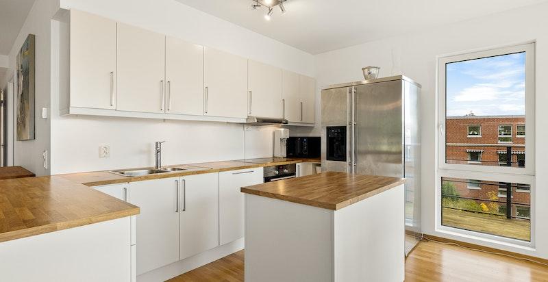 Integrert keramisk koketopp, stekeovn og oppvaskmaskin. Løst side by side kjøl/frys