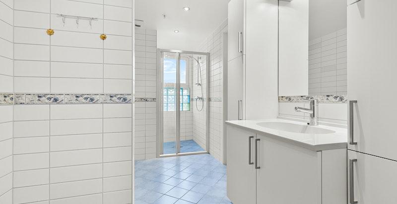 Hovedbadet har direkte adkomst fra både hovedsoverommet og gangen