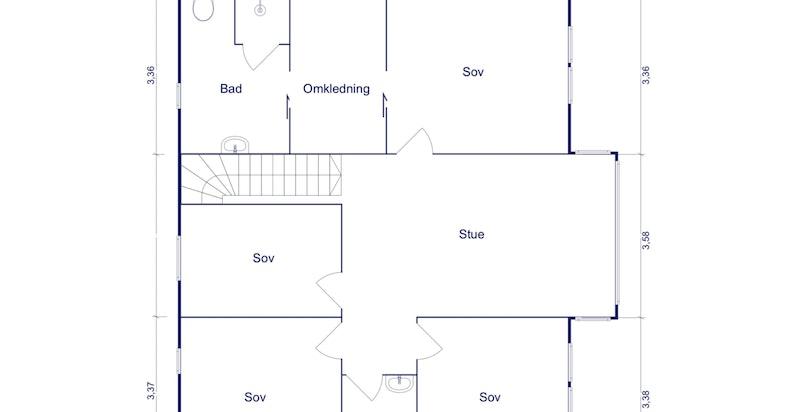 Planskisse 2. etg. - forslag til alternativ planløsning har fjernet åpent ned til entré og bygget inn et ekstra soverom i 2. etg.
