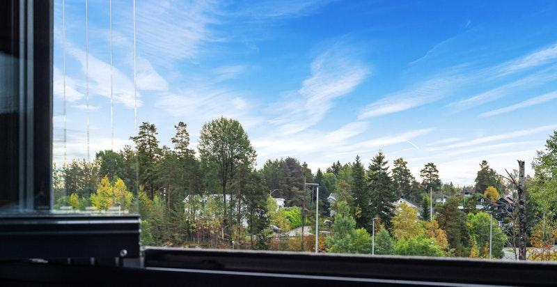 Fra balkongen har du hyggelig og grønt utsyn.