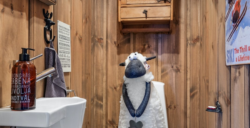 Separat toalettrom i tilknytning med gangen. Rommet er innredet med gulvmontert toalett og veggmontert servant.