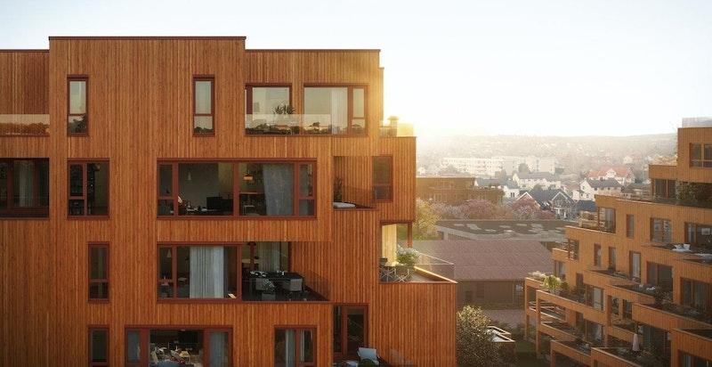 Kronen, mange av leilighetene har flott utsyn over nærområdet. Illustrasjon.