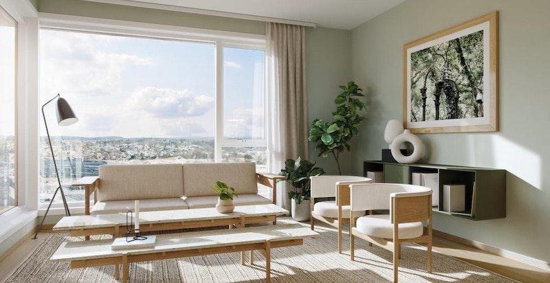 Stue, 1-stavs eikeparkett og vannbåren gulvvarme. Store vindusflater slipper inn rikelig med lys. Illustrasjon.