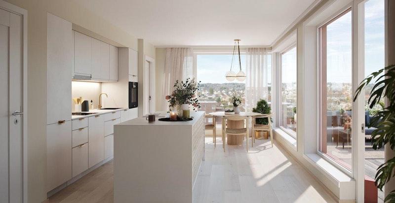 Store vindusflater slipper inn rikelig med lys, illustrasjon fra leilighet i 8. etg.