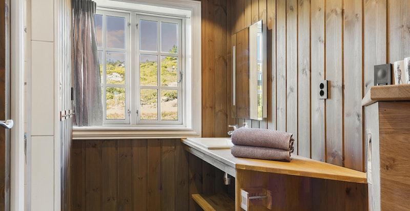 Bad nr. 2 er innredet med dusjnisje,vegghengt toalett og benk med servant