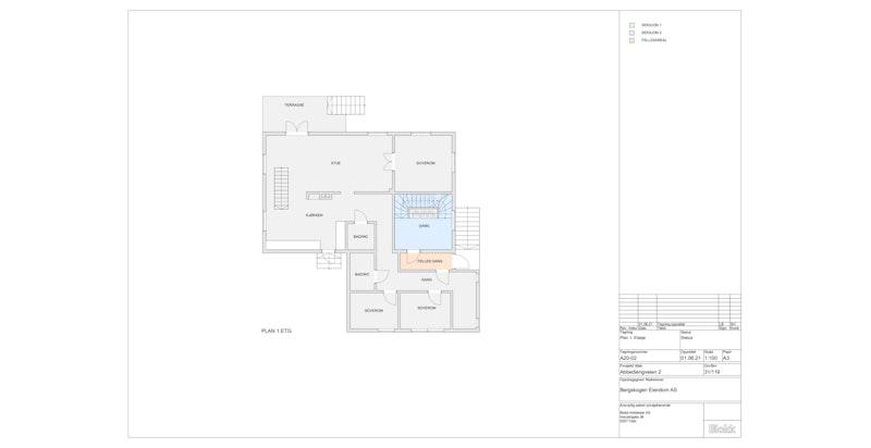 Plantegning 1.etasje (grått areal tilhører denne seksjonen)