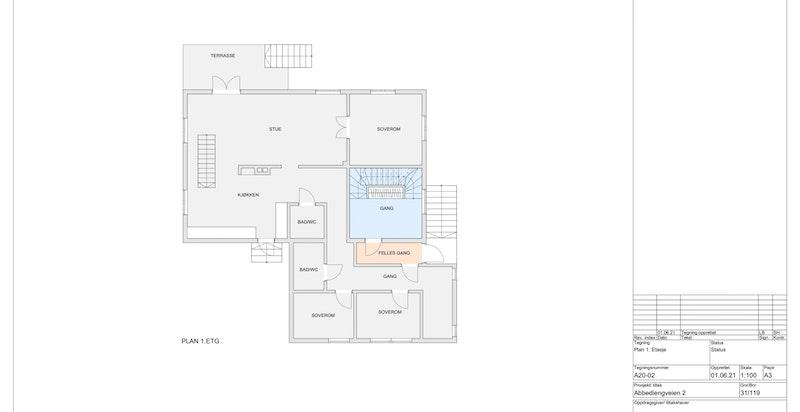 1.etasje seksjon 2 (Blått areal er tilhørende seksjon 2)
