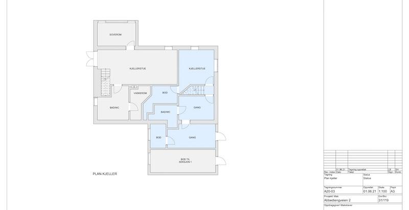 Underetasje seksjon 2 (Blått areal er tilhørende seksjon 2)