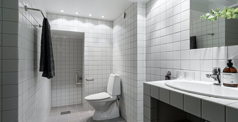 Denne seksjonen har to baderom, et i underetasjen og et i toppetasjen. Her er baderommet i underetasjen vist.