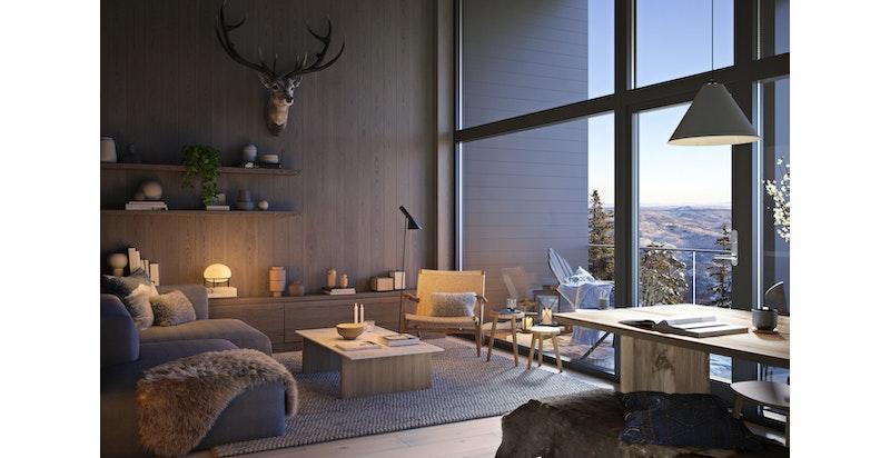 Rålekre materialer og fantastisk utsikt over dalen - OBS bygget er tegnet om med utenpåliggende balkonger og stue helt ut