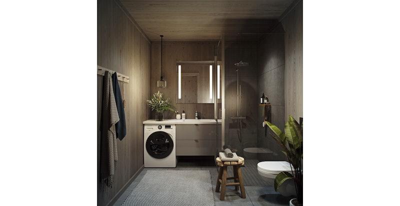 Svært lekre baderom, alle med opplegg for vaskemaskin.