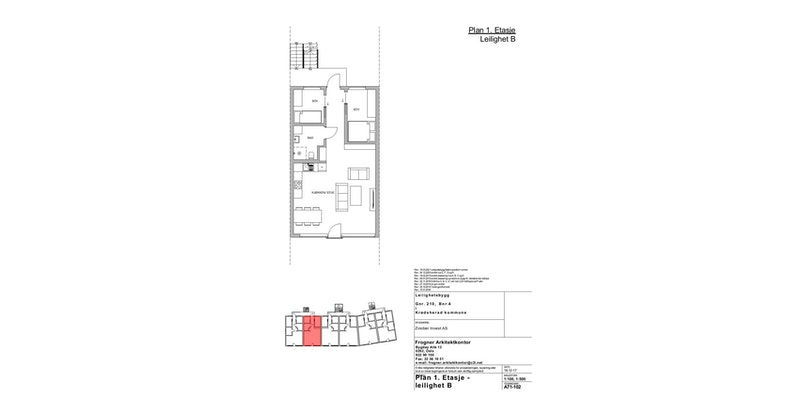 Leilighet B | 1 ETG | 62 KVM | PRIS 3 100 000