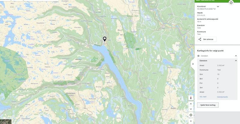 Ådalen 4 zoomet ut på kommunekart.com